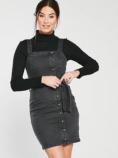 miss-selfridge-belted-button-denim-pinny-dress-black
