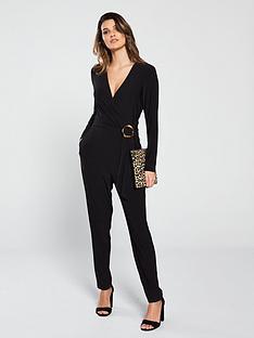 ad6d31e717 Wallis Horn Ring Wrap Jumpsuit - Black