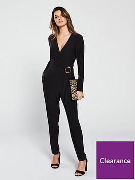 wallis-horn-ring-wrap-jumpsuit-black