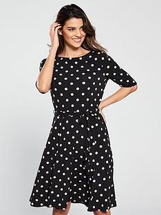 1679d447539 Wallis Spot Fit And Flare Dress - Black