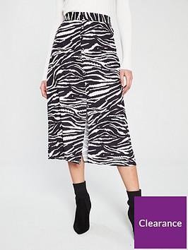 wallis-button-through-zebra-skirt-black-white