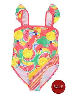 b1fd349d Billieblush Girls Ruffle Shoulder Printed Swimsuit - Multi