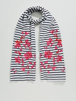 joules-cream-floral-embroidered-striped-cotton-scarf-bluewhite