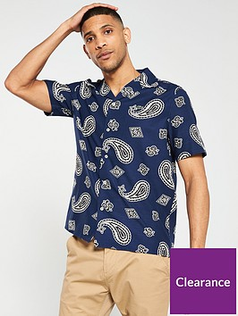 lacoste-live-short-sleeved-paisley-print-shirt-blue