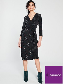 warehouse-multicolour-spot-dress