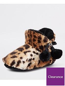 river-island-river-island-leopard-fluffy-pom-pom-boot-slippers