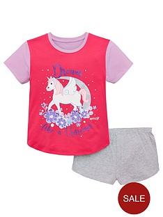 emoji-girls-unicorn-shorty-pyjamas-multi