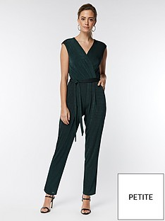 wallis-petite-slinky-wrapped-belted-jumpsuit-green
