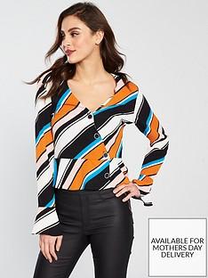 miss-selfridge-stripe-peplum-button-wrap-top-rust