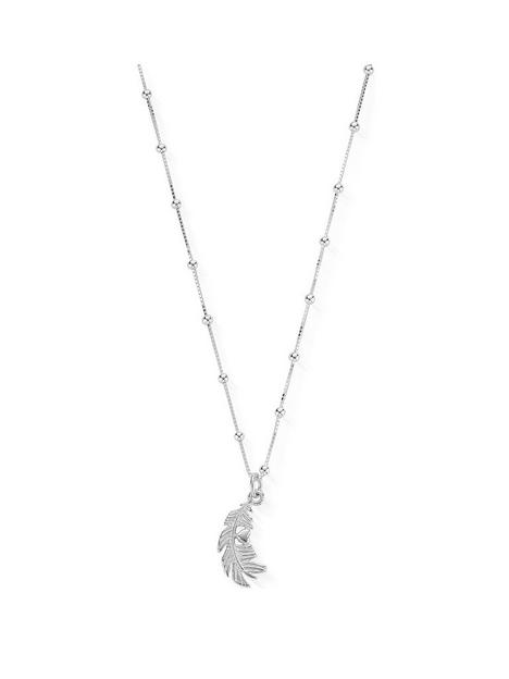 chlobo-sterling-silver-bobble-chain-heart-in-feather-pendant-necklace