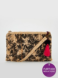 v-by-very-kiki-palm-print-weave-clutch-natural