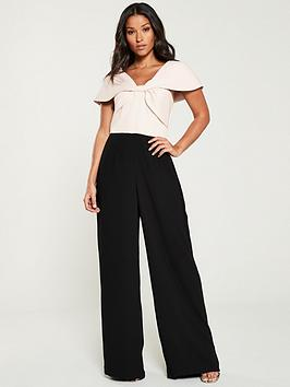 V by Very V By Very Bow Front Contrast Wide Leg Jumpsuit - Blush/Black Picture