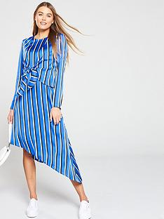 v-by-very-satin-stripe-tie-front-midi-dress-print