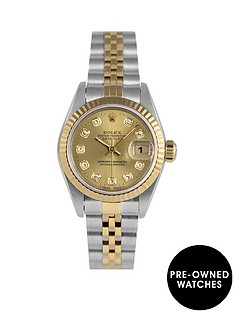 rolex-rolex-pre-owned-original-champagne-new-set-diamond-dial-two-tone-stainless-steel-bracelet-ladies-watch-with-original-certificate-ref-69173