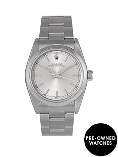 rolex-rolex-pre-owned-silver-baton-oyster-perpetual-dial-stainless-steel-bracelet-midsize-watch-ref-77080
