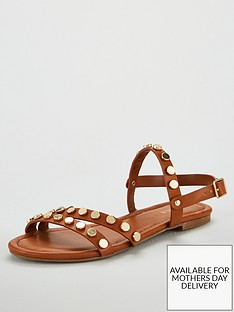 carvela-stud-flat-sandals-tan