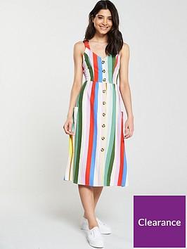 v-by-very-linen-stripe-button-through-dress-print