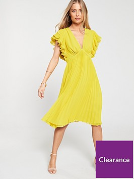 v-by-very-ruffle-sleeve-pleated-skirt-dress-yellow