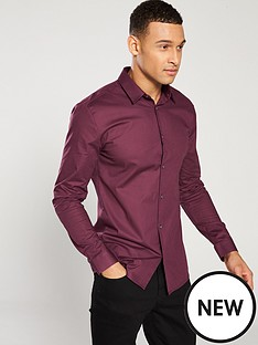 river-island-wine-muscle-poplin-shirt