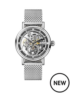 ingersoll-ingersoll-1892-the-herald-grey-and-silver-skeleton-automatic-dial-stainless-steel-mesh-strap-watch