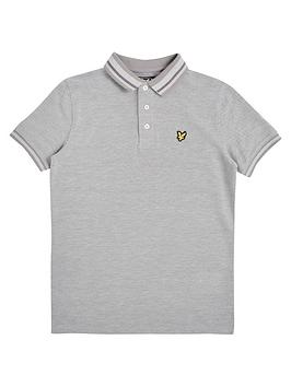 lyle-scott-boys-short-sleeve-oxford-polo-shirt-grey