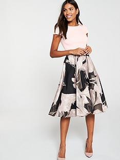coast-martha-floral-v-back-pocket-dress-blush