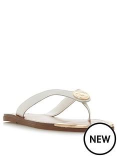 43fee3e7c0f Dune London Lagoons D Branded Toe Thong Flip Flop - White
