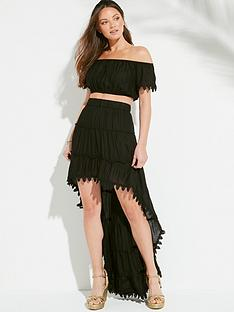 f880032c4a South Beach Bardot Top And Drop Hem Ruffle Skirt Co-ord - Black