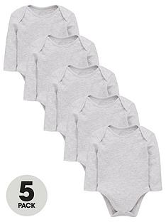 mini-v-by-very-baby-unisex-5-pack-long-sleeve-essential-bodysuits--nbspgrey-marl