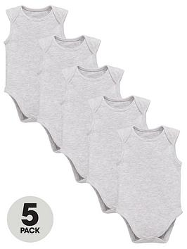 mini-v-by-very-baby-unisex-5-packnbspsleeveless-essential-bodysuits-grey-marl