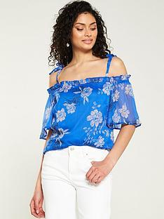 f300ceafd26177 V by Very Floral Cold Shoulder Blouse - Blue Floral