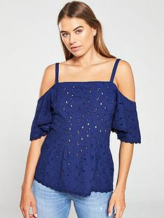 v-by-very-broderie-cold-shoulder-top-navy