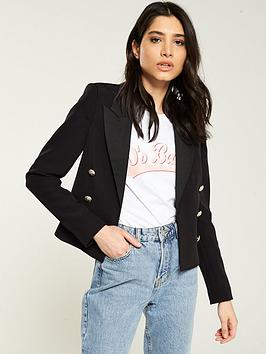 V by Very V By Very Cropped Double Breast Blazer - Black Picture