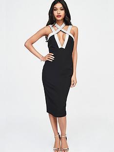 lavish-alice-lavish-alice-irridescent-silver-sequin-cross-over-strap-midi-dress-in-black