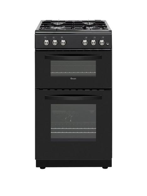 swan-sx15871b-50cm-wide-twin-cavity-gas-cooker-black
