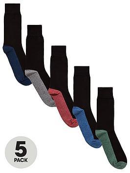 V by Very V By Very 5Pk Contrast Heel Socks Picture