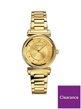 d2a8720f Versace V-Motif Gold Sunray 35mm Dial Gold IP Stainless Steel Bracelet  Ladies Watch