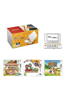 nintendo-2ds-new-nintendo-2ds-xl-hw-white-and-orange-with-animal-crossing-happy-home-designer-mario-and-luigi-paper-jam-bros-and-harvest-moon-the-lost-valley