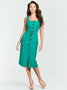 michelle-keegan-belted-linen-midi-dress-green