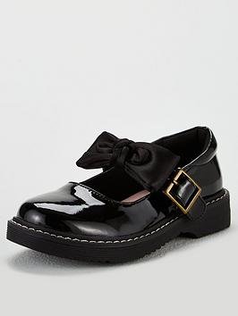 V by Very V By Very Girls Becca 3D Bow Chunky School Shoes - Black Picture