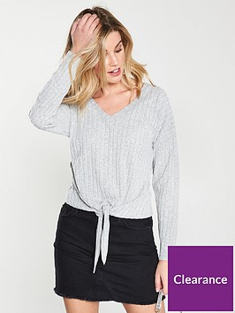 v-by-very-tie-front-slouch-jumper-grey