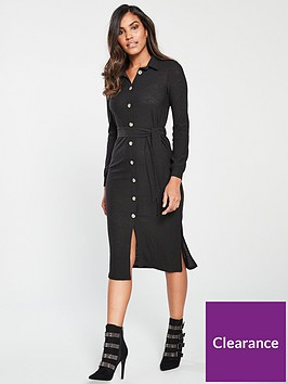 v-by-very-beltednbspbutton-down-dress-blacknbsp