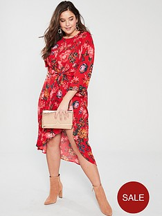 ax-paris-curve-printed-sleeve-dress-red