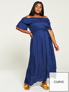 v-by-very-curve-dobby-ruffle-maxi-dress-navy