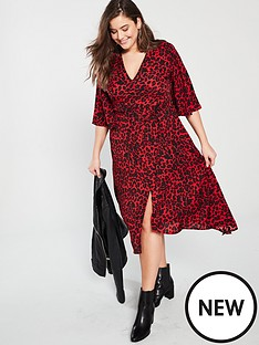 f7021093e8 AX PARIS CURVE Ax Paris Curve Frill Sleeve Red Animal Print Midi Dress