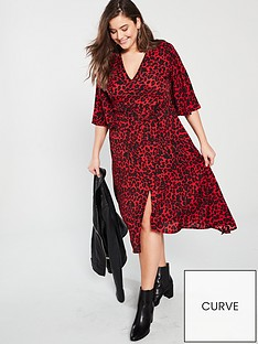 ax-paris-curve-frill-sleeve-animal-print-midi-dress-red