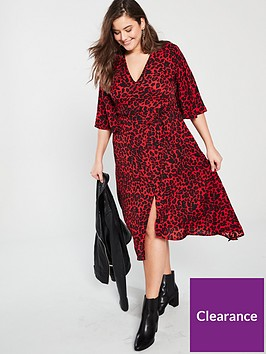 ax-paris-curve-frill-sleeve-animal-print-midi-dress-red