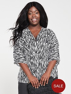 ax-paris-curve-wide-sleeve-zebra-top