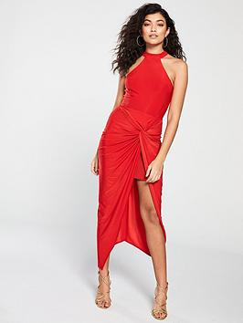 ax-paris-knot-front-slinky-dress-red
