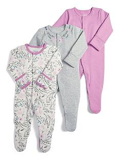 mamas-papas-baby-girls-3-pack-floral-sleepsuitsnbsp--pink-grey-and-floral-print